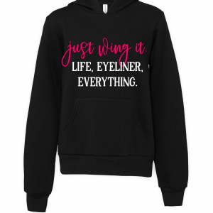 black just wing it hoodie