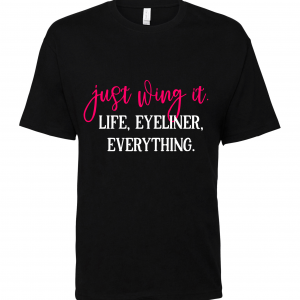 just wing it black t shirt
